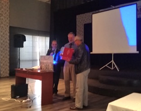 Bob Hazen receiving plaque at University of Agadir