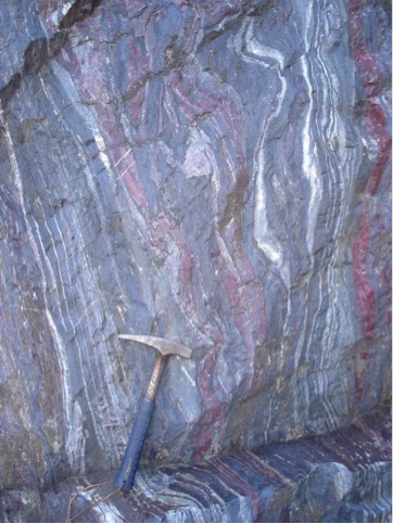 photo of banded iron formation in the field