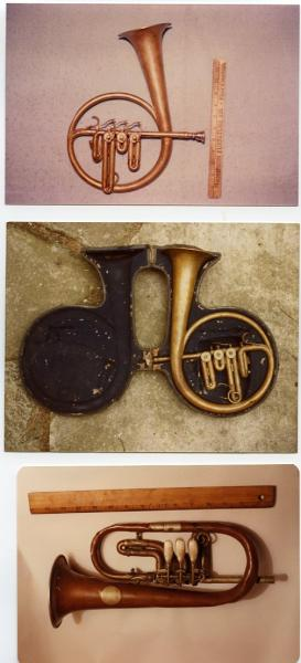 Three photos, each with one historic soprano saxophone.