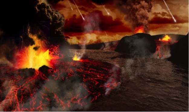 artist rendering of formation fo black basaltic crust