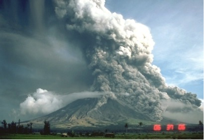 photo of volcano erupting